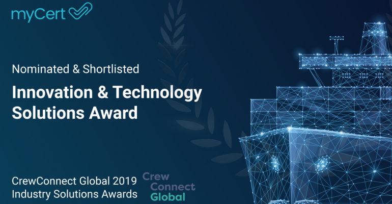 myCert is nominated for the Innovation Technology Solutions Award at CrewConnect Global 2019